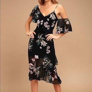 Keepsake Black floral print dress